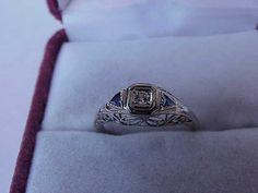 Antique Estate 10k white Gold Filigree Ring: Diamonds & Sapphires,ART DECO,1930s Women's Rings, Gold Filigree, Class Ring, White Gold, Bling, Fancy, Deco, Beads, Diamond