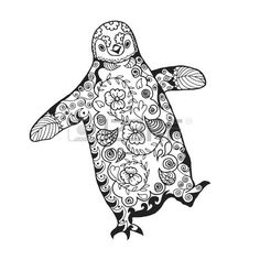 Tribal Animal Coloring Pages Lovely Cute Penguin Adult Antistress Coloring Page Black White Penguin Coloring Pages, Colouring Pages, Adult Coloring Pages, Coloring Sheets, Coloring Books, Penguin Art, Penguin Love, Cute Penguins, Penguin Tattoo