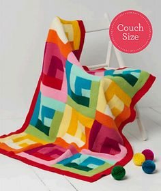 Free knitting pattern for Magnum Throw - This colorful log cabin pattern is made by making the log cabin squares, sewing them together, and then making a border.