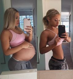 Blogger's before and after photos: one enormously pregnant, another quite thin