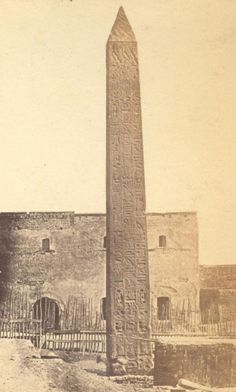 Photograph of Cleopatra's Needle at Alexandria, EGYPT 1869 Ancient Aliens, Ancient Egypt, Ancient History, Ancient Mysteries, Ancient Artifacts, Monuments, Empire Romain, Cultura General, Old Egypt