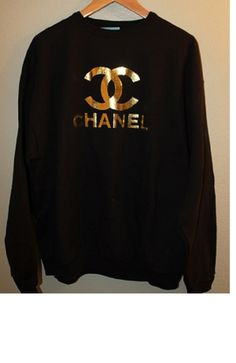 Hey, I found this really awesome Etsy listing at https://www.etsy.com/listing/168532630/chanel-gold-logo-comfy-sweatshirt