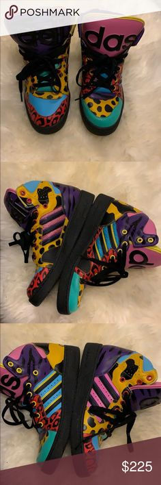 various colors a82c8 c6587 Jeremy Scott x Adidas High Animal Print Sneakers Men s black and multicolor  leather Jeremey Scott for