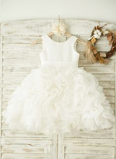 [CA$ 114.23] A-Line/Princess Knee-length Flower Girl Dress - Organza/Satin Sleeveless Scoop Neck With Bow(s)