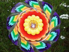 Recycle Art Garden  Glass Plate Flower  Hand by sasafrasflowers, $75.00