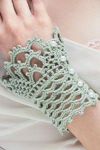 Add feminine flair with these delightful lace cuffs. Wear them with a sleeveless dress or let them peek from the cuffs of a long-sleeve top. (Or work them in a wool yarn for winter!) Finished Size: 7 wide and 4 1 Crochet Necklace Pattern, Crochet Gloves Pattern, Crochet Bracelet, Knitting Patterns, Crochet Patterns, Knitting Tutorials, Hat Patterns, Loom Knitting, Free Knitting