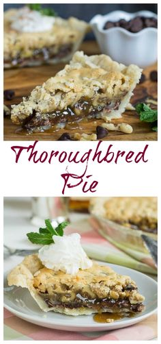 Thoroughbred Pie for the Kentucky Derby. Loaded with walnuts and chocolate and a splash of bourbon.