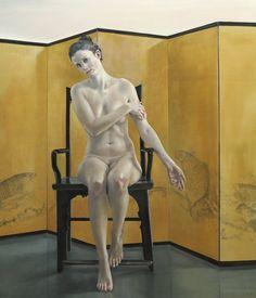 Sitzende mit Karpfenteich, 2015 140 x 120 cm Öl auf Leinwand, Henning von Gierke, Heitsch Gallery - contemporary art