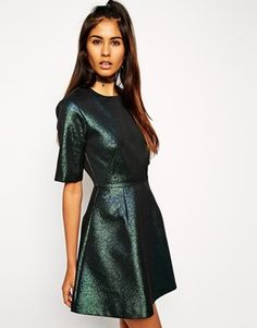 ASOS Holographic Shift Dress. Office Party Look