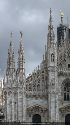 The Duomo, Milan, Italy. Another view of the cathedral with the intricacy of its spires and statuary.