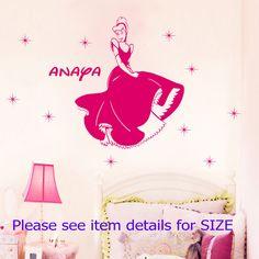 Disney Cinderella Wall Stickers Personalised Princess Wall Decal Nursery Vinyl