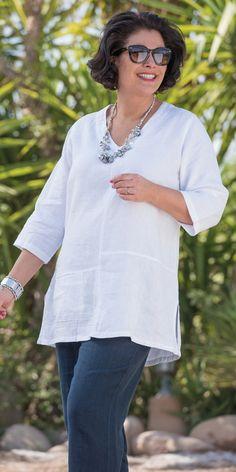Kasbah white linen pintuck v neck top