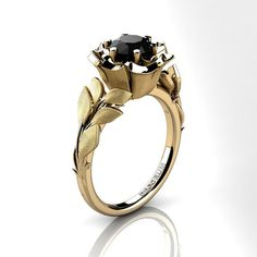 Decorum Floral 14K Yellow Gold 1.0 Ct Black by DecorumRings