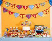 Superhero Birthday Party - DIY PRINTABLE Happy Birthday Banner - Instant Download - design by venspaperie - PS825CA1e. $7.50, via Etsy.