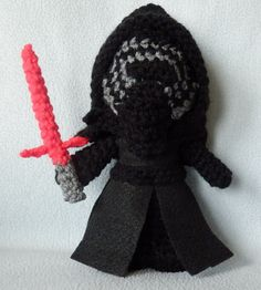 Made to order, Hand crocheted Star Wars Kylo Ren with removable mask, cloak and lightsaber Amigurumi Doll
