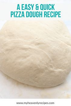 This quick pizza dough recipe uses 5 simple ingredients and is ready in under 30 minutes. Homemade pizza dough is more delicious than a pizza delivery shop!  #MyHeavenlyRecipes #pizza #pizzadough #homemade