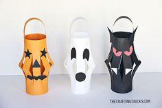 Lanterne di Halloween fai da te con cartoncini colorati