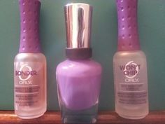 """Best self mani... 1- one coat Orly """"Bonder"""" & let dry.  2- two thick coats of your favorite color, do not let dry.  3- one thick coat Orly 'Won't Chip"""", do not let dry.  4- spray a thick coat of cooking spray on nails (do over sink!) Let sit on nails for aprox 30 seconds.  5- rinse off nails in cold water & gently wipe dry with a towel.   * It's best to do this just before bed. For the cooking spray doesn't dry nails completely. But you will be free of sheet marks in the morning and have…"""