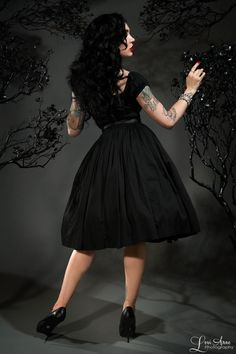 Pinup Couture Jenny Skirt in Black Sateen