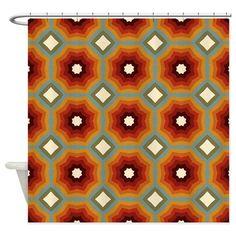 Expanding Orange Octagons Pattern Shower Curtain on CafePress.com