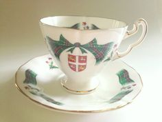 Newfoundland Tartan Tea Cup and Saucer, Adderley Cups, Tea Set, Canadian Teacups, Bone China Tea Cups, Scottish Plaid Cup, Antique Tea Cups