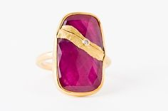 """Jamie Joseph's 22-karat """"Golden Joinery"""" ruby ring is from a new collection that honors and beautifies broken stones as a metaphor for life ($2,750)."""