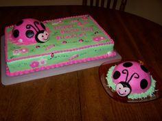Pink ladybug 9 x 13 and round cake