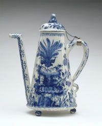 Coffeepot with Cover. Made in Delft, Netherlands, Europe, c. 1710-20    Made by De Metaale Pot (The Metal Pot), Delft, Netherlands, 1670 - 1775. Under Lambertus van Eenhoorn, Dutch, active 1691 - 1721.