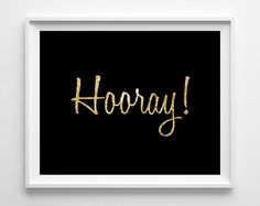 Hooray Art  Hooray Print  Typography  Black and by KryderPrints, $10.00
