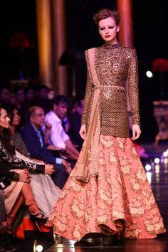 10 Lakme Fashion Week Sabysachi lehnga with long sleeved jacket glitter blouse