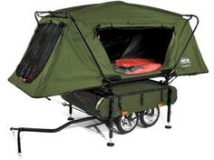 Pop-Up Camper, for a freaking bike! and it would weigh less than the kids in a trailer. I'll like this for my husband!  He would love this!!
