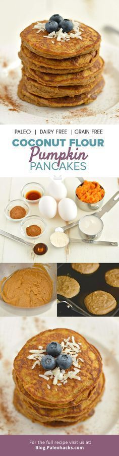 Who's ready for pancakes? How about thick, fluffy and perfectly sweet Paleo Pumpkin Coconut Pancakes that are dairy-free, gluten-free, grain-free and delicious? For the full recipe visit us here: http (Baking Sweet Coconut Flour) Paleo Pumpkin Pancakes, Coconut Pancakes, Coconut Flour Recipes, Coconut Milk, Keto Pancakes, Pie Coconut, Pancakes Easy, Breakfast And Brunch, Paleo Breakfast