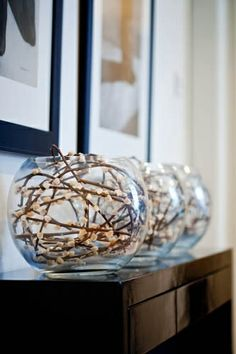 pussy willow stems in glass bowl vases @ DIY Home Ideas