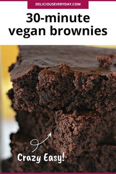 batch of these freshly baked homemade vegan brownies will satisfy your inner c. - Vegan Sweets A batch of these freshly baked homemade vegan brownies will satisfy your inner c. Vegan Gluten Free Brownies, Cookies Gluten Free, Sugar Free Brownies, Healthy Brownies, Homemade Brownies, Vegan Dessert Recipes, Brownie Recipes, Dairy Free Recipes, Vegan Sweets
