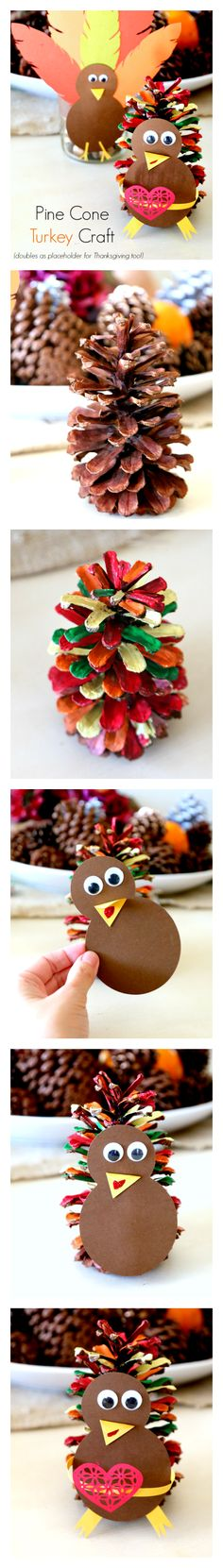 Create a Pinecone Turkey by using pine cone and paint! Plus our Turkey Template to download. You can use your Pine Cone Turkey for a thanksgiving place setting or for adorable decor.