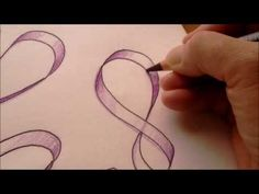 How to draw a ribbon with two pencils - YouTube