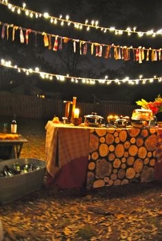 Outdoor Fireside Party Tablescape-- love this for a fall bonfire!