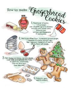 Gingerbread Cookie Recipe Greeting Card 5 x 7 Watercolor Ginger Bread Cookies Recipe, Cookie Recipes, Dessert Recipes, Desserts, Fudge Recipes, Pudding Recipes, How To Make Gingerbread, Gingerbread Cookies, Recipe Drawing
