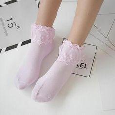 New Arrival Woman Girl Socks Lolita Ruffle Cotton Lace Princess Socks Meias Sox Frilly Socks, Silk Socks, Non Slip Socks, Cute Socks, Harajuku, Invisible Socks, Short Socks, Fashion Socks, Sexy Stockings