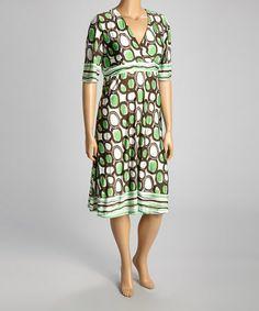 Look at this #zulilyfind! Green Abstract Dot Surplice Dress - Plus by Reborn Collection #zulilyfinds