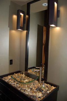 floating led bath-spa lights | tropical bathroom and tile mirror