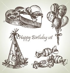 Happy birthday set hand drawn vector - by pimonova on VectorStock®