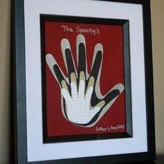 Family handprints framed art