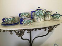 Fabulous Art Deco French Ceramic Tea/Coffee set by LONGWY France 11 pieces Rare #ArtDeco #Longwy