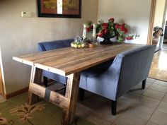 Chic reclaimed dining room table dining room table sets with bench dark wood…