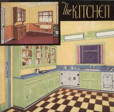 "1935 Kitchen (with ""Before"" pic on upper left), modern 1935 colors in kitchen of minty green, buttery yellow, white, accents of blue"