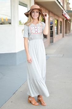 Heather Grey Embroidered Maxi Dress- Tap the link now to see our super collection of accessories made just for you!