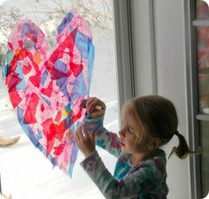 Tissue paper heart stained glass windows -- easy and beautiful!