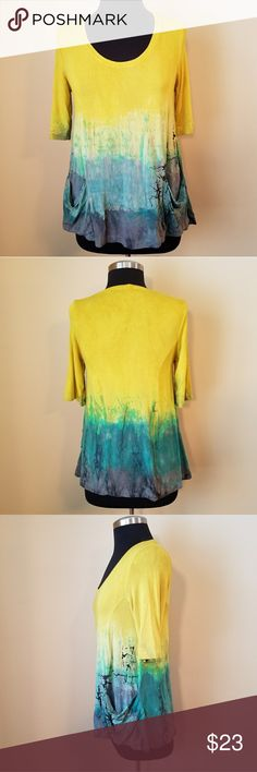 Art of Cloth, Tye dye Ombre Tunic w/ Pockets Great used condition. No rips stains or tears.  Stretchy yellow to blue ombre/tye dye, 3/4 sleeve, tunic top with two front pockets.  92% rayon 8% spandex.  Size small by Art of Cloth. Art of Cloth Tops