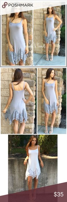 """Lace Extender Slip/Dress A new twist to the already hottest selling lace extender. Asymmetrical lace hemline with adjustable straps. Color white or grey. Size S/M, M/L, L/XL eyelet.                                                              S Bust 34"""" Length  30""""  M Bust 38"""" Length 32""""  L Bust 44"""" Length 34"""" striped eyelet Dresses"""
